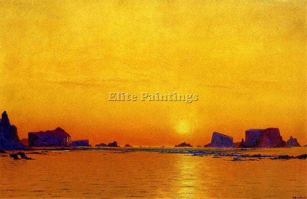 WILLIAM BRADFORD ICE FLOES UNDER THE MIDNIGHT SUN ARTIST PAINTING REPRODUCTION