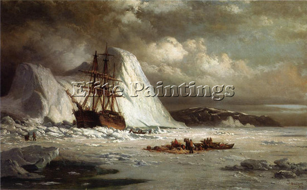 WILLIAM BRADFORD ICEBOUND SHIP ARTIST PAINTING REPRODUCTION HANDMADE OIL CANVAS