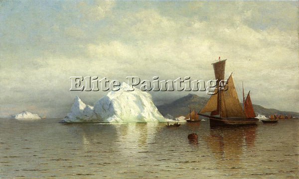 WILLIAM BRADFORD LABRADOR FISHING BOATS NEAR CAPE CHARLES ARTIST PAINTING CANVAS