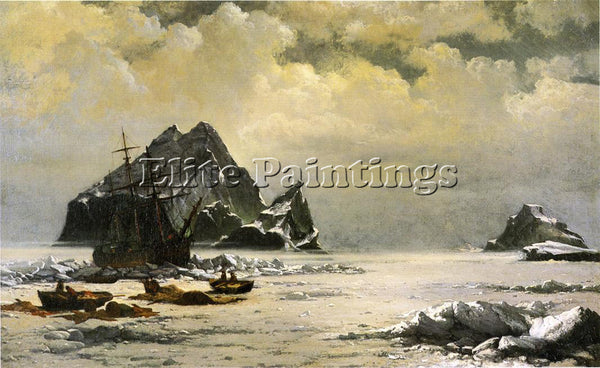 WILLIAM BRADFORD MORNING ON THE ARTIC ICE FIELDS ARTIST PAINTING HANDMADE CANVAS