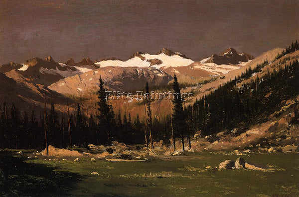 WILLIAM BRADFORD MOUNT LYELL ABOVE YOSEMITE ARTIST PAINTING HANDMADE OIL CANVAS
