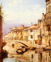 DENMARK BRANDEIS ANTONIETTA A GONDOLA ON A VENETIAN BACKWATER CANAL PAINTING OIL
