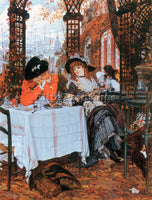 TISSOT BREAKFAST ARTIST PAINTING REPRODUCTION HANDMADE OIL CANVAS REPRO WALL ART