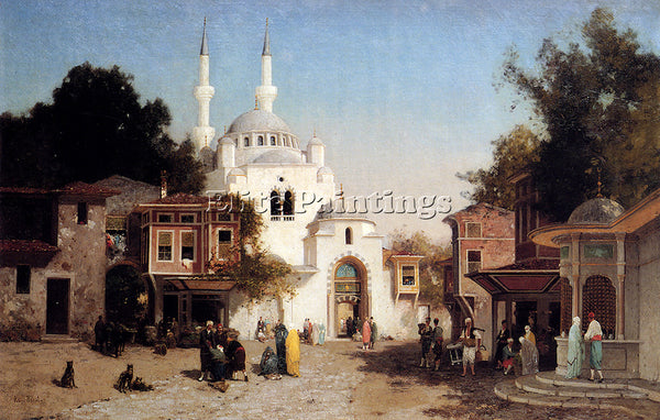 FRENCH BREST GERMAIN FABIUS OUTSIDE THE MOSQUE ARTIST PAINTING REPRODUCTION OIL