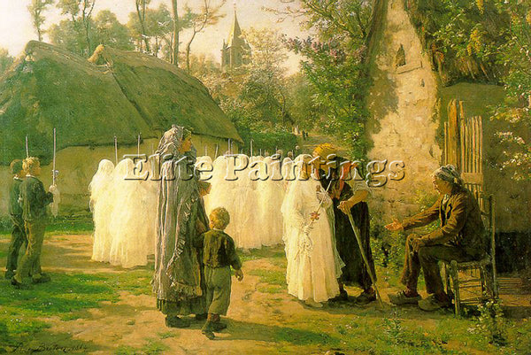FRENCH BRETON JULES FRENCH 1827 1906 2 ARTIST PAINTING REPRODUCTION HANDMADE OIL
