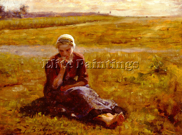 JULES BRETON AFTERNOON REPAST ARTIST PAINTING REPRODUCTION HANDMADE CANVAS REPRO