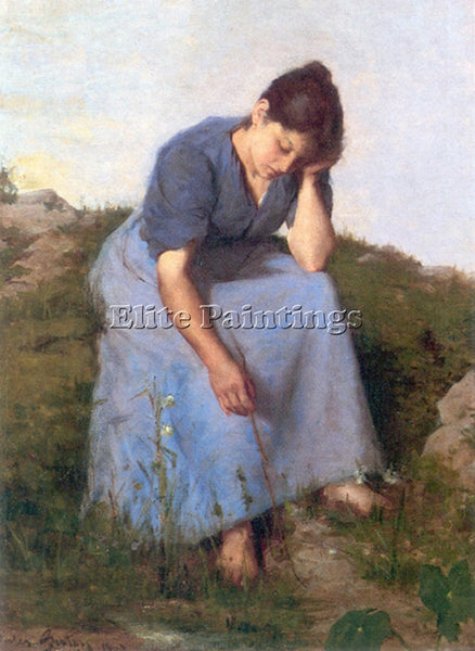JULES BRETON YOUNG WOMAN IN A FIELD ARTIST PAINTING REPRODUCTION HANDMADE OIL