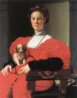 AGNOLO BRONZINO PORTRAIT OF A LADY WITH A PUPPY ARTIST PAINTING REPRODUCTION OIL