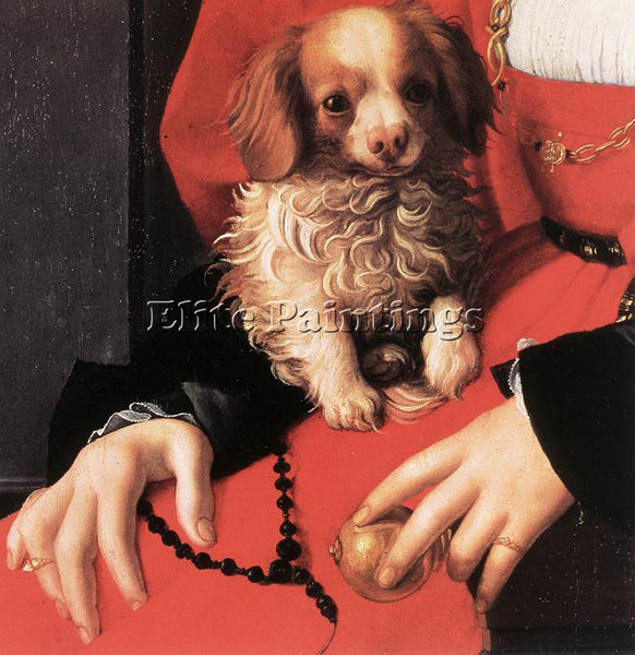 AGNOLO BRONZINO PORTRAIT OF A LADY WITH A PUPPY DETAIL ARTIST PAINTING HANDMADE