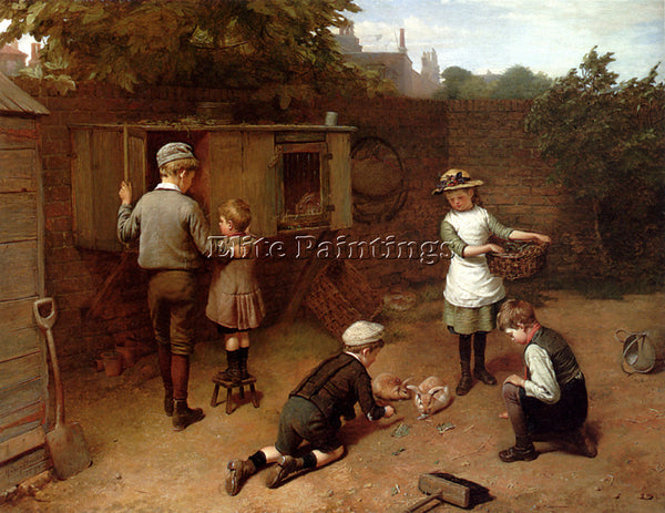 BRITISH BROOKER HARRY FEEDING TIME ARTIST PAINTING REPRODUCTION HANDMADE OIL ART