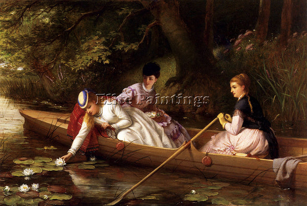 BRITISH BROOKS THOMAS THAMES LILIES ARTIST PAINTING REPRODUCTION HANDMADE OIL