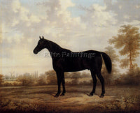 AUSTRIAN BROWN E DARK BAY HUNTER IN A WOODED LANDSCAPE ARTIST PAINTING HANDMADE