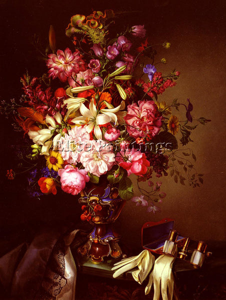 AUSTRIAN BRUNNER LEOPOLD STILL LIFE WITH VASE FLOWER AND OPERA GLASSES PAINTING