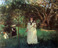 MORISOT BUTTERFLY HUNTING ARTIST PAINTING REPRODUCTION HANDMADE OIL CANVAS REPRO