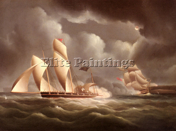 BUTTERSWORTH EDWARD BRITISH FRIGATE ATTACKING PIRATE LUGGER AT NIGHT OIL CANVAS