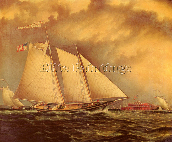 AMERICAN BUTTERSWORTH JAMES E YACHTING OFF CASTLE GARDEN ARTIST PAINTING CANVAS - Oil Paintings Gallery Repro