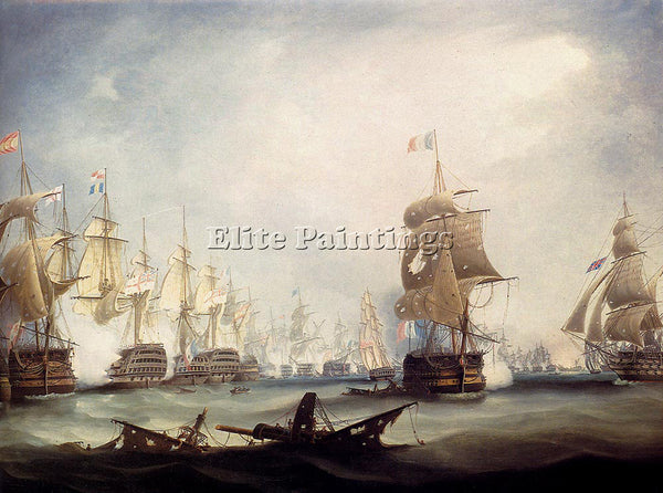 BRITISH BUTTERSWORTH THOMAS THE BATTLE OF TRAFALGAR 1805 ARTIST PAINTING CANVAS