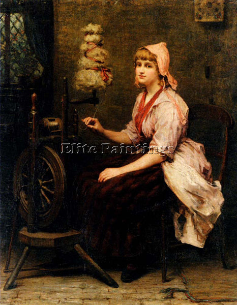BRITISH BYWATER KATHERINE THE GIRL AT THE SPINNING WHEEL ARTIST PAINTING CANVAS