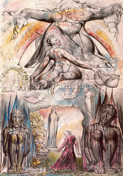 WILLIAM BLAKE BLAK24 ARTIST PAINTING REPRODUCTION HANDMADE OIL CANVAS REPRO WALL