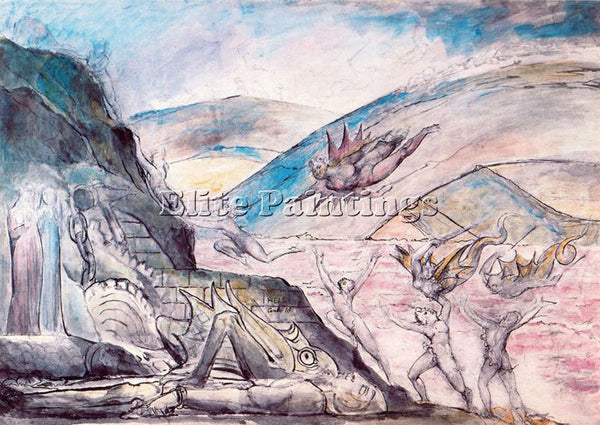 WILLIAM BLAKE BLAK29 ARTIST PAINTING REPRODUCTION HANDMADE OIL CANVAS REPRO WALL