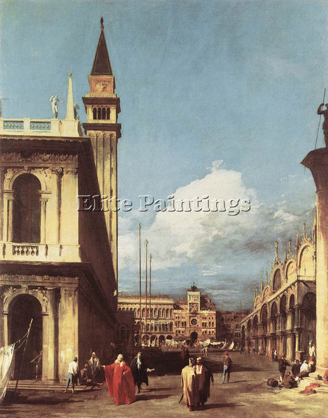 CANALETTO  THE PIAZZETTA LOOKING TOWARD THE CLOCK TOWER ARTIST PAINTING HANDMADE
