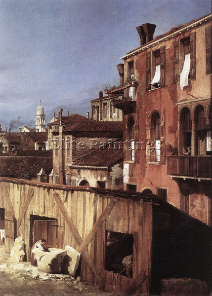 CANALETTO  THE STONEMASONS YARD DETAIL ARTIST PAINTING REPRODUCTION HANDMADE OIL