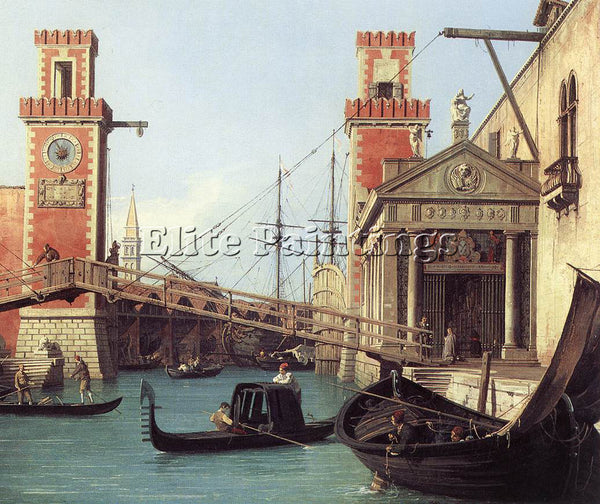CANALETTO  VIEW OF THE ENTRANCE TO THE ARSENAL DETAIL ARTIST PAINTING HANDMADE