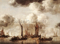 DENMARK CAPELLE JAN VAN DE DUTCH YACHT FIRING A SALVO ARTIST PAINTING HANDMADE
