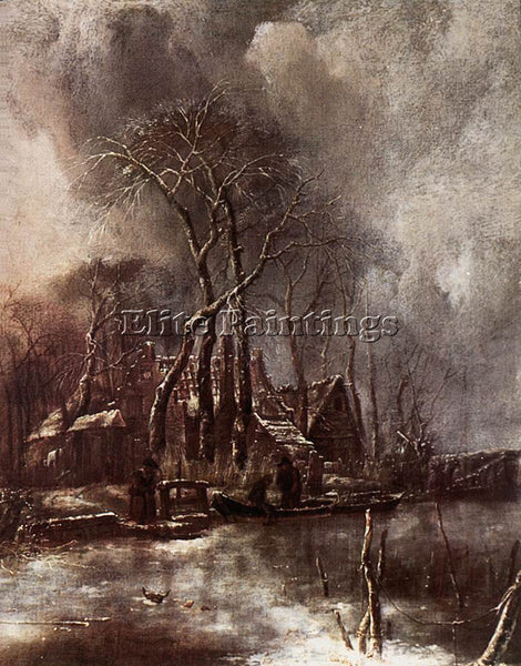 DENMARK CAPELLE JAN VAN DE WINTER LANDSCAPE ARTIST PAINTING HANDMADE OIL CANVAS