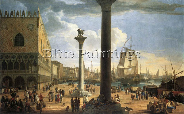 LUCA CARLEVARIS THE MOLO WITH THE DUCAL PALACE ARTIST PAINTING REPRODUCTION OIL