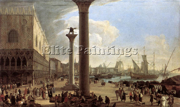 LUCA CARLEVARIS THE WHARF LOOKING TOWARD THE DOGES PALACE ARTIST PAINTING CANVAS