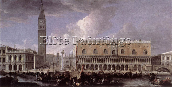 LUCA CARLEVARIS VIEW OF THE WHARF FROM THE BACINO DI SAN MARCO PAINTING HANDMADE