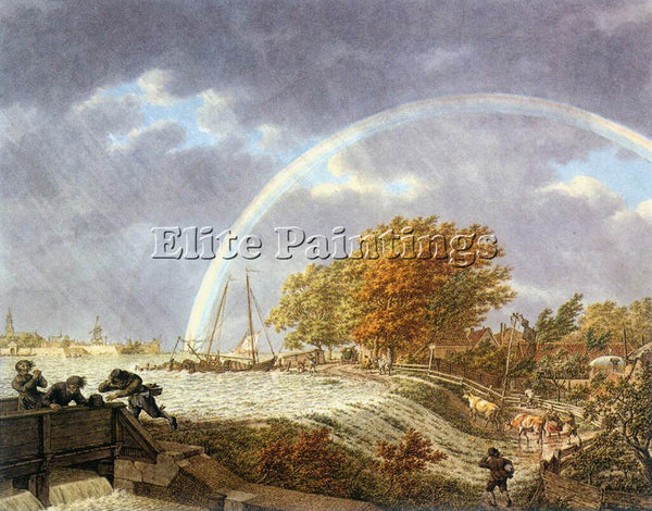 DENMARK CATS JACOB AUTUMN LANDSCAPE WITH RAINBOW ARTIST PAINTING HANDMADE CANVAS