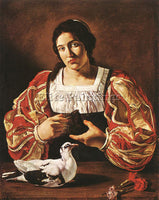 FRENCH CECCO DEL CARAVAGGIO WOMAN WITH A DOVE ARTIST PAINTING REPRODUCTION OIL