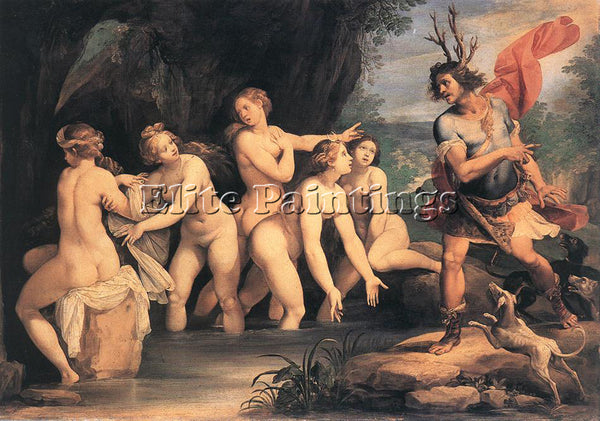 GIUSEPPE CESARI DIANA AND ACTAEON ARTIST PAINTING REPRODUCTION HANDMADE OIL DECO