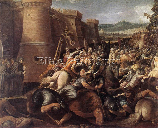 GIUSEPPE CESARI ST CLARE WITH THE SCENE OF THE SIEGE OF ASSISI PAINTING HANDMADE