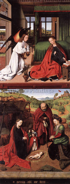 PETRUS CHRISTUS ANNUNCIATION AND NATIVITY ARTIST PAINTING REPRODUCTION HANDMADE