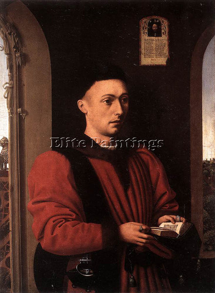 PETRUS CHRISTUS PORTRAIT OF A YOUNG MAN ARTIST PAINTING REPRODUCTION HANDMADE