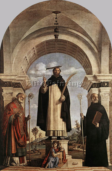 CIMA DA CONEGLIANO ST PETER MARTYR WITH ST NICHOLAS OF BARI ARTIST PAINTING OIL