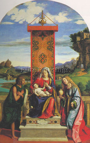 CIMA DA CONEGLIANO THE MADONNA AND CHILD WITH ST JOHN BAPTIST AND MARY MAGDALEN