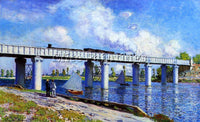 CLAUDE MONET THE RAILROAD BRIDGE AT ARGENTEUIL ARTIST PAINTING REPRODUCTION OIL