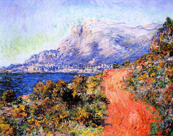 CLAUDE MONET THE RED ROAD NEAR MENTON ARTIST PAINTING REPRODUCTION HANDMADE OIL