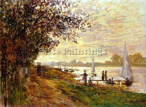 CLAUDE MONET THE RIVERBANK AT LE PETIT GENNEVILLIERS SUNSET ARTIST PAINTING OIL