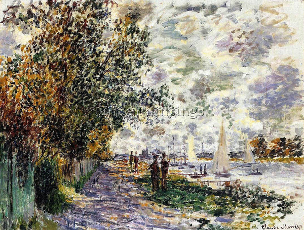 CLAUDE MONET THE RIVERBANK AT PETIT GENNEVILLIERS ARTIST PAINTING REPRODUCTION