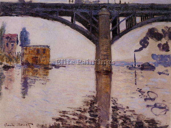 CLAUDE MONET THE ROAD BRIDGE AT ARGENTEUIL 2 ARTIST PAINTING HANDMADE OIL CANVAS