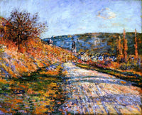 CLAUDE MONET THE ROAD TO VETHEUIL ARTIST PAINTING REPRODUCTION HANDMADE OIL DECO