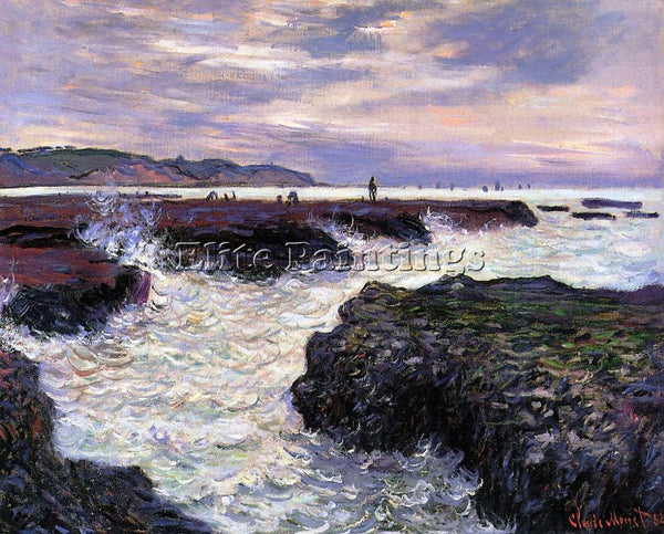 CLAUDE MONET THE ROCKS AT POURVILLE LOW TIDE ARTIST PAINTING HANDMADE OIL CANVAS