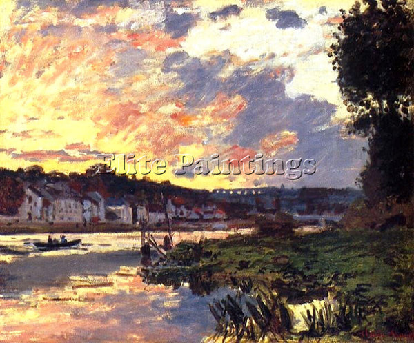 CLAUDE MONET THE SEINE AT BOUGEVAL EVENING ARTIST PAINTING REPRODUCTION HANDMADE
