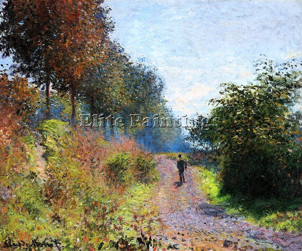 CLAUDE MONET THE SHELTERED PATH ARTIST PAINTING REPRODUCTION HANDMADE OIL CANVAS