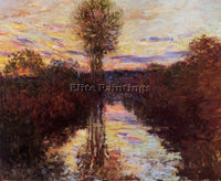 CLAUDE MONET THE SMALL ARM OF THE SEINE AT MOSSEAUX EVENING ARTIST PAINTING OIL